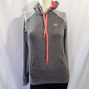Hoodys ADIDAS Pullover Hoodie grey with purple accent size